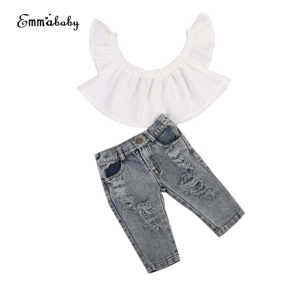 Emmababy 2pcs Clothes Set!! Newest Kid Baby Girl Clothes Set Infant Children Off Shoulder Tops Denim Jeans Outfits Clothes