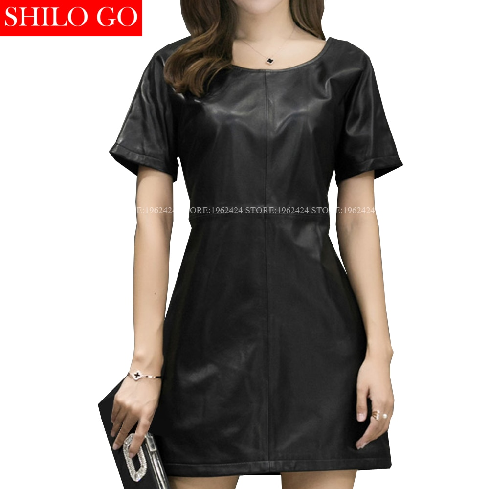 SHILO GO moda calle mujeres negro cuello redondo manga corta cremallera Formal Oficina piel de oveja cuero genuino vestido de mujer vestido