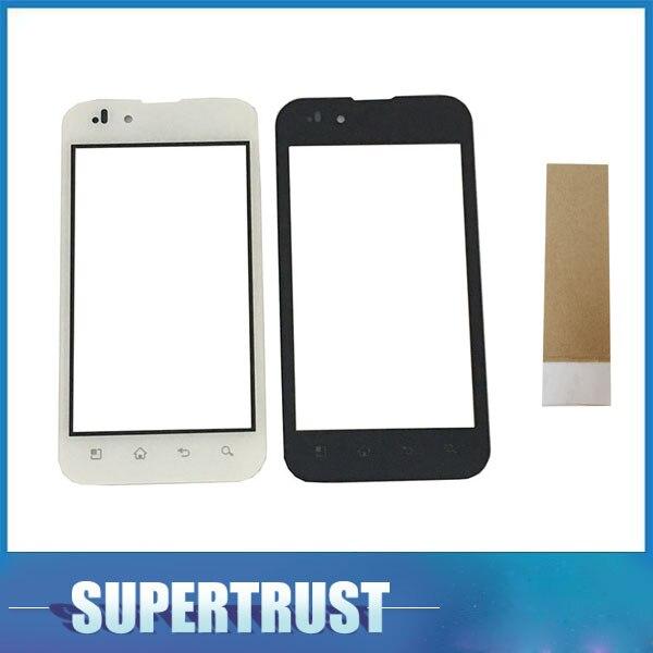 Sensor de lente de vidrio frontal Original de 4,0 pulgadas para LG Optimus P970 Digitalizador de pantalla táctil color blanco y negro con cinta