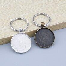 5 pièces rond Cabochon clé porte-clés pendentif plateau lunette blanc pour 30mm camée verre Cabochon Base réglage Base plateaux bricolage porte-clés