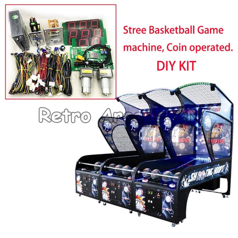 Kit de máquina de juegos de baloncesto Arcade DIY con set de placa base PCB, arnés de cableado, fuente de alimentación, aceptador de monedas, dispensador de tickets
