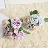 4 colors 8 heads rose artificial flowers bridal bouquet for wedding decoration silk rose fake flowers for home decor