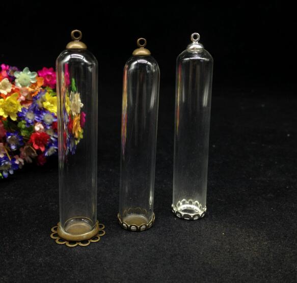 Cloche tube en forme de 3 pièces 60*12mm   tube avec plateau en dentelle, capuchon de 6mm, flacon en verre pendentif, verre à faire-même, conteneur de bouteille dôme