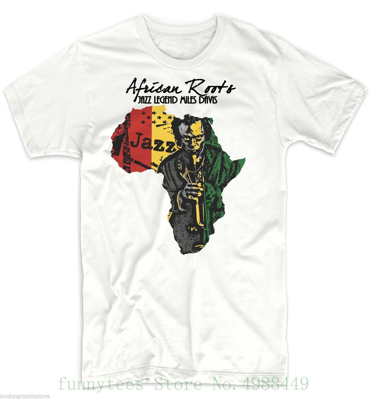 Camiseta de África, mapa africano, Historia Negra, Rastafari, camiseta blanca de algodón Reggae Miles Davis para verano para hombres