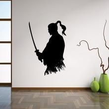 Samurái Katana, pegatina de vinilo Ninja, decoración japonesa para el hogar, sala de estar Ideas para, arte de pared Interior, decoración de pared del dormitorio L237