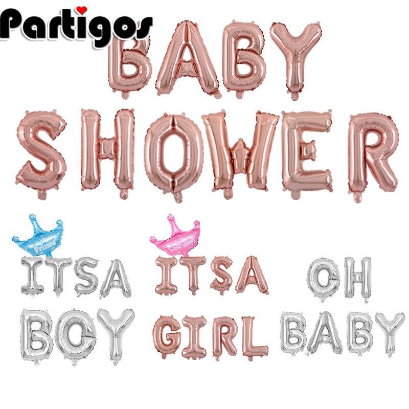 Baby Shower, 16 pulgadas, 34cm, globos de papel de aluminio dorado, suministros y decoraciones para fiestas de Baby Shower para niños y niñas