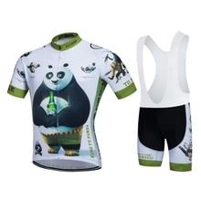 SGCIKER drôle Kungfu Panda été cyclisme maillot ensemble à manches courtes vélo vêtements vtt hommes Ropa Ciclismo vélo maillot 9D gel pad