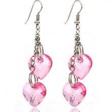 2017 New Brand Women Fashion Handmade Jewelry Silver Plated Big Double Heart Shaped Pink Quartz Crystal Drop Earrings