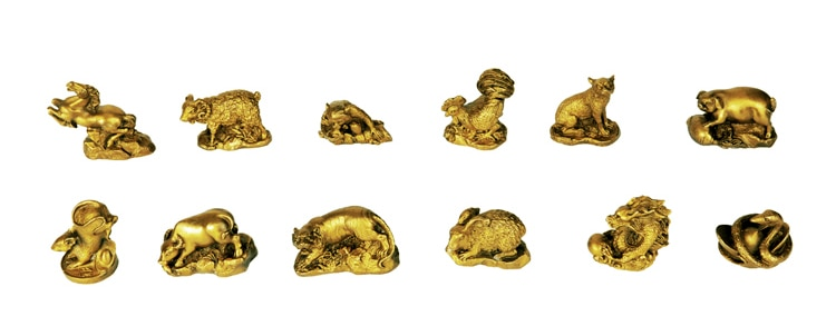 Copper zodiac decoration copper cattle rabbit horse sheep chicken dog pig zodiac crafts set