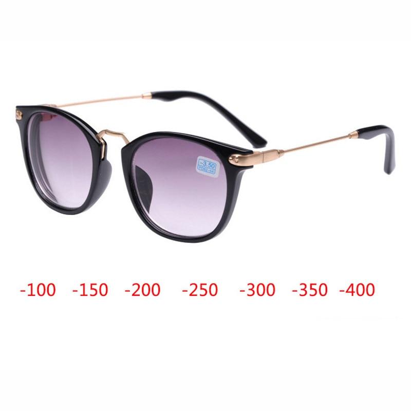Gafas de sol miopía acabado hombres mujeres Marco de anteojos miopía con lente gris gafas de sol miopía gafas-1,0 ~ 4,0 con dioptrías