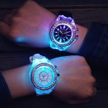 Silicone LED lumineux mode dames montre de plein air femmes hommes coloré sport montres hommes montre horloges Relogios Masculino