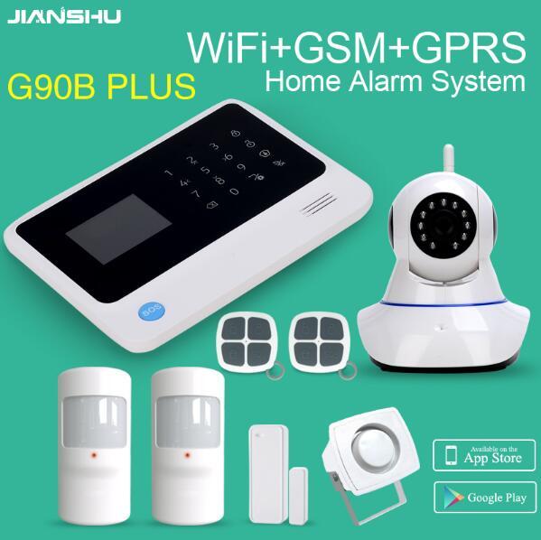 G90B PLUS GSM WIFI APP controle de ALARME da SEGURANÇA HOME detector PIR sensor de mini sirene fio 2MP wifi Câmeras IP PTZ