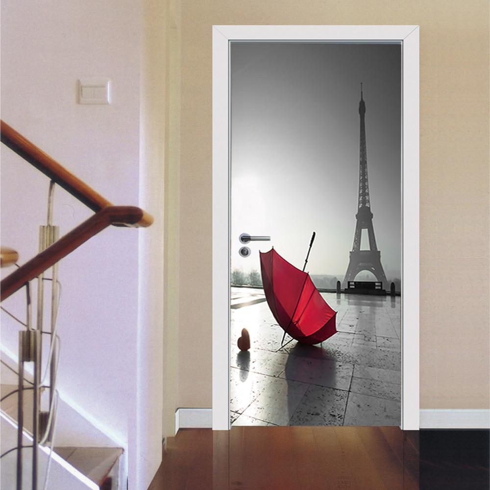 Escena romántica torre de París paraguas rojo pegatina de puerta cuadrada autoadhesiva impermeable 3D PVC pegatina de puerta DIY Mural de imitación