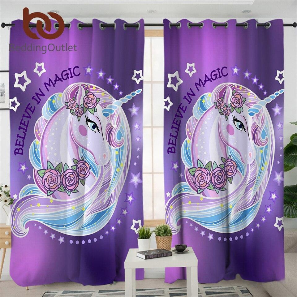 Cortina de unicornio BeddingOutlet para sala de estar, cortina opaca Floral rosa para habitación de niños, cortina de puerta púrpura, cortina de ventana de cocina 1 pieza