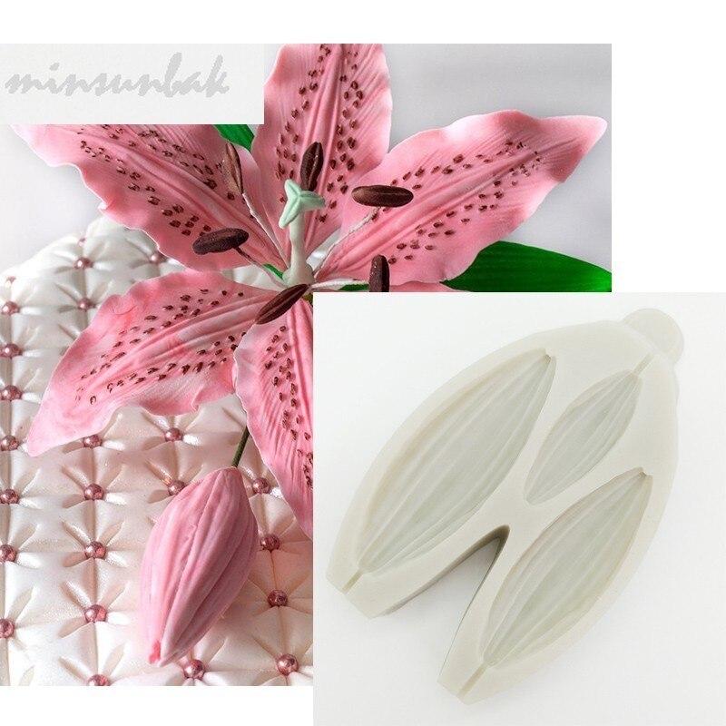 Molde de silicona con forma de flor de lirio minsunbak, molde de Fondant, decoración de pastel de cumpleaños, mazapán, herramienta para hornear Chocolate, pasta de azúcar
