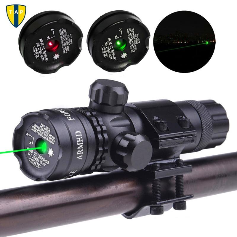 Montura láser táctica verde punto rojo mira láser Rifle caza Airsoftsport pistola alcance 20mm riel & barril Mount Cap Pressure Switch