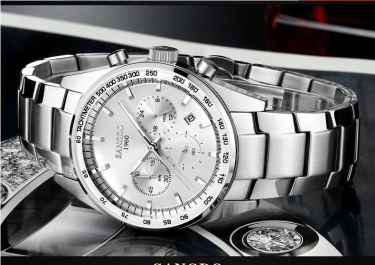 42MM SANGDO Chronograph multifunction Japanese quartz movement silver- white dial men's watch High quality Quartz watch 1