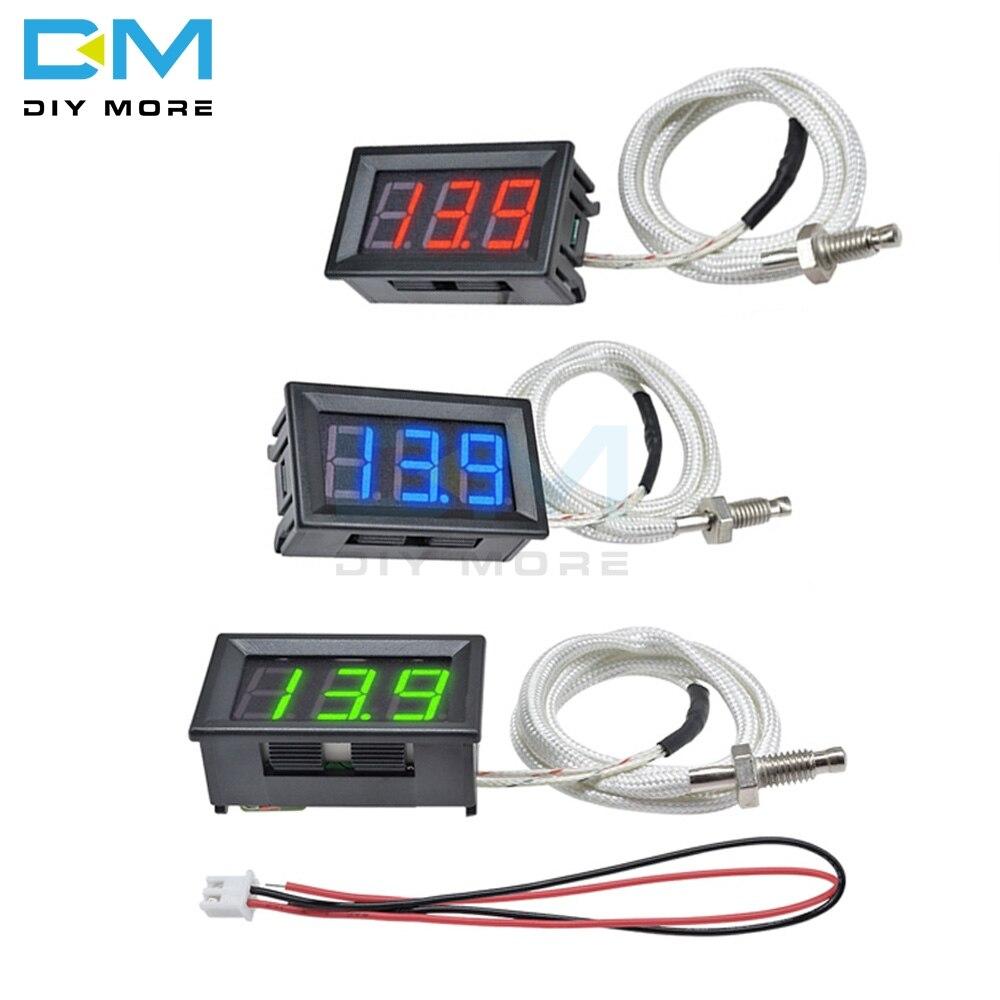 Tubo Digital rojo azul verde pantalla LED medidor de temperatura tipo K M6 termopar Control probador de controlador Cable termográfico