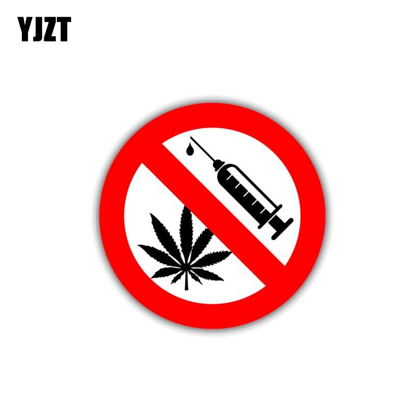 Pegatina de advertencia para coche de 10CM * 10CM de YJZT, pegatina de PVC sin drogas Danger Decal 12-1448