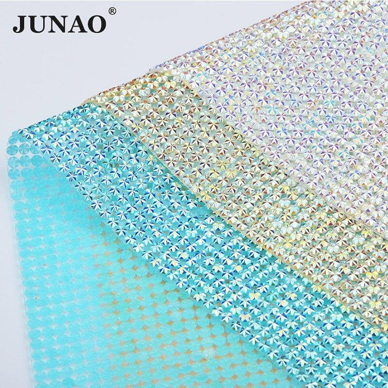 JUNAO 24*40cm Adhesive Crystal AB Rhinestone Mesh Fabric Sheet Crystal Applique Trim Resin Strass Ribbon for Clothes DIY Crafts
