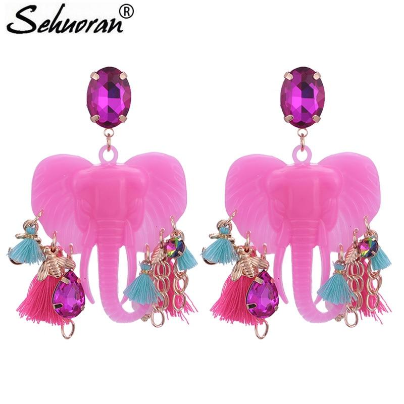 Sehuoran Brincos elefante Oorbellen las mujeres Boho gota pendientes colgantes de flecos largo étnicos pendientes de borla con enunciado de los encantos de la joyería