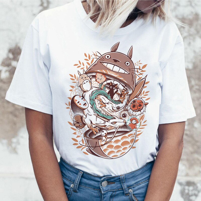 Camiseta de totoro, camiseta de moda, ropa gráfica para mujer, camiseta harajuku para mujer, camisetas ulzzang kawaii, camisetas informales grunge