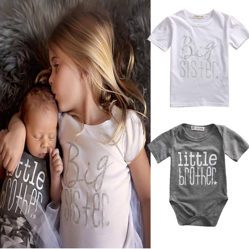 Одинаковая одежда из хлопка футболка с надписью «Big Sister» комбинезон с принтом «Little Brother» Одежда для мальчиков и девочек