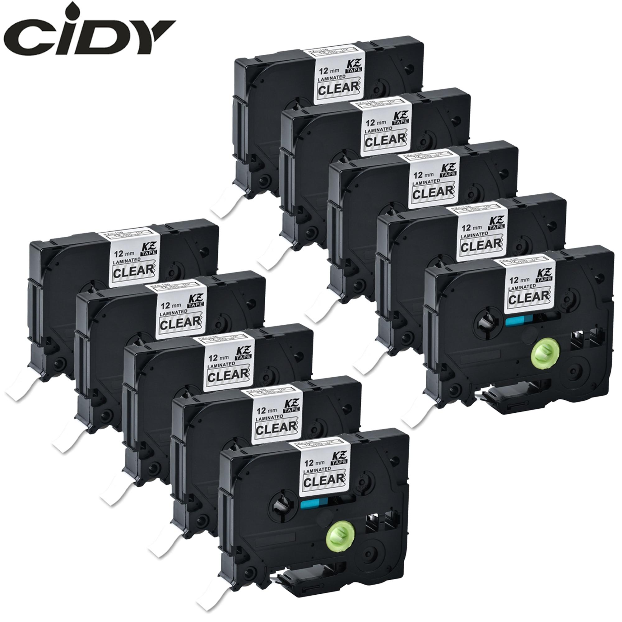 CIDY 10 stücke 12mm weiß auf klar tze label bänder Kompatibel TZe135 TZe 135 tz135 tz 125 laminiert band für p-touch