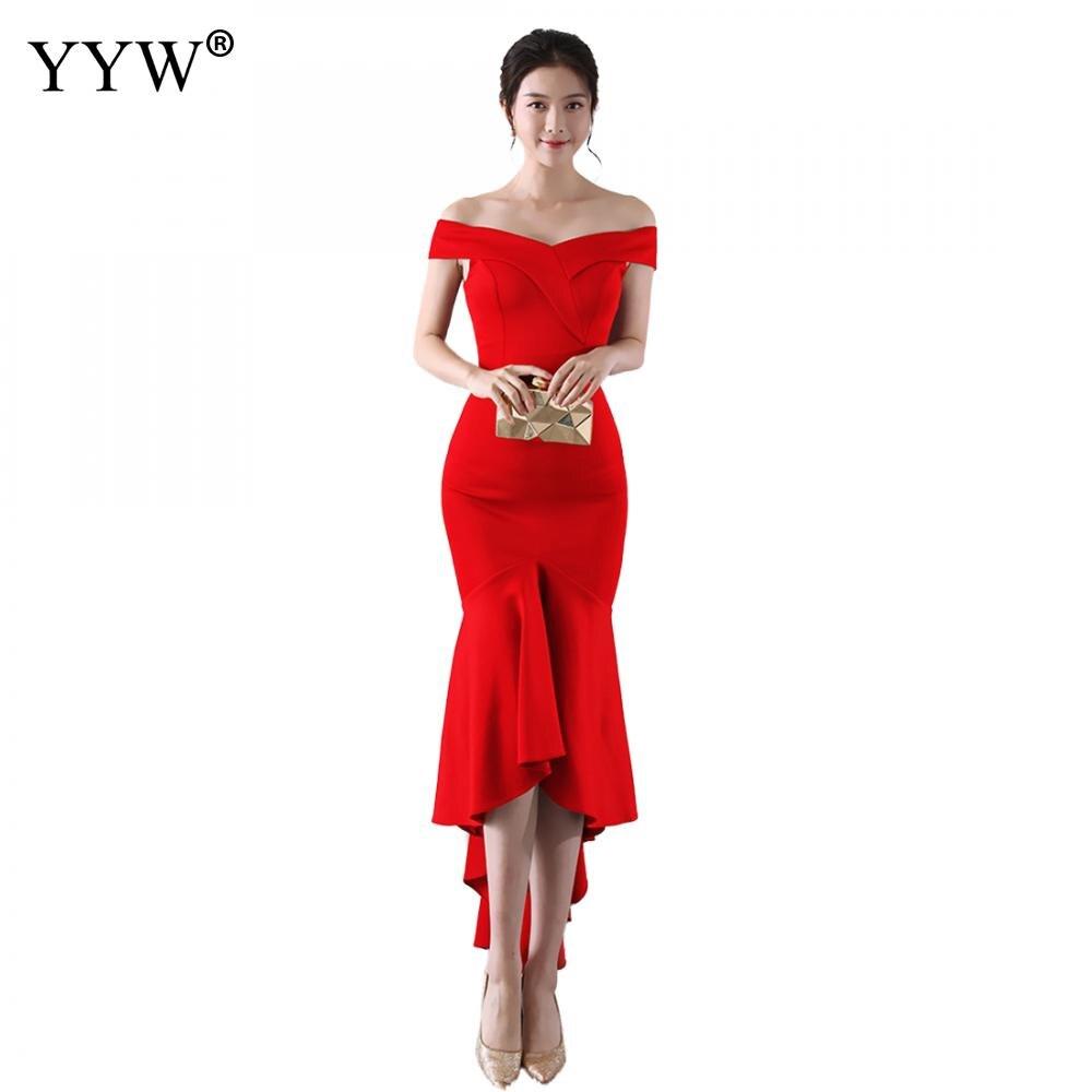 فستان سهرة أنيق على شكل حورية البحر للنساء ، ياقة قارب ، أحمر ، بوق ، مثير ، عصري ، نحيف ، لون عادي ، مجموعة 2020