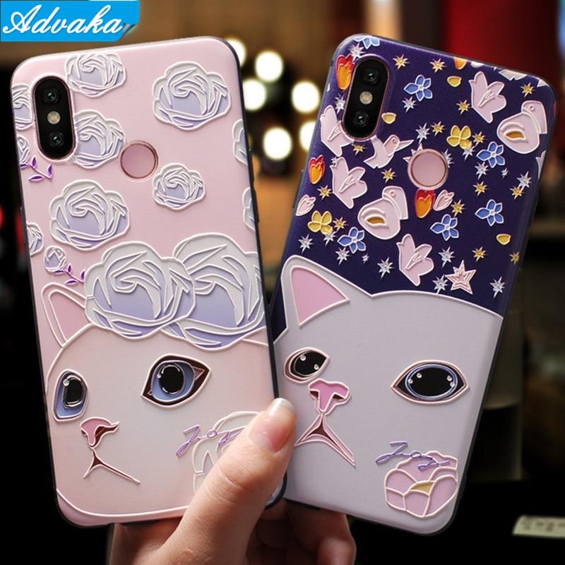 Advaka Mi8 3D Embossed Painted Phone Case For Xiaomi Mi 8 Mi6 Mi5X Mi5 Soft TPU Phone Cover For Xiaomi Redmi 5 Plus Cover case