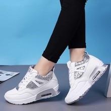 VTOTA platformu Sneakers kadın ayakkabı nefes kama ayakkabı siyah PU tenis feminino rahat ayakkabılar sepeti femme bambas mujer