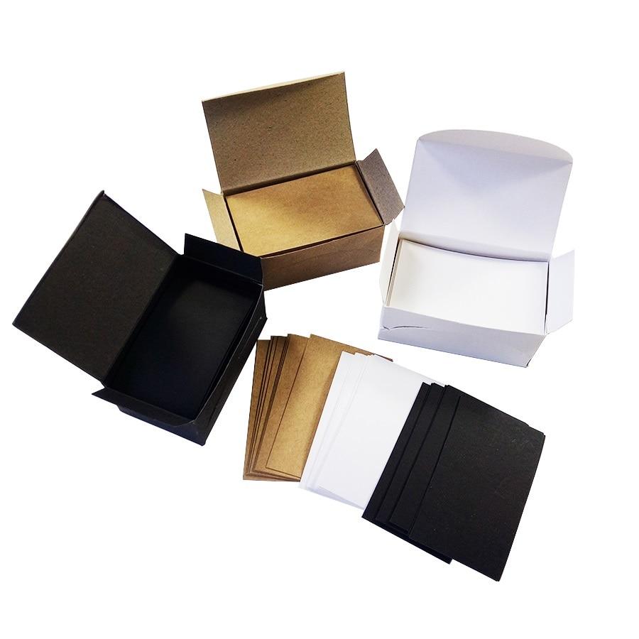 100 unids/lote Tarjeta de papel Kraft blanco negro en blanco tarjetas de visita en blanco notas para mensajes regalo de fiesta gracias Etiqueta de tarjetas BookmarkName Card