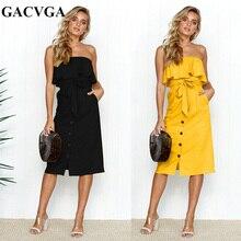 GACVGA Elegant Yellow Black Ruffle Off Shoulder Bow Tie Dress Women Summer Strapless Buttons Party Dresses Knee-Length Vestidos