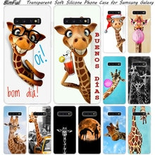 Coque en Silicone souple girafe animal mignon pour Samsung Galaxy S10 S9 S8 Plus S7 Edge A6 A8 Plus A7 A9 2018 A5 2017 couverture de mode