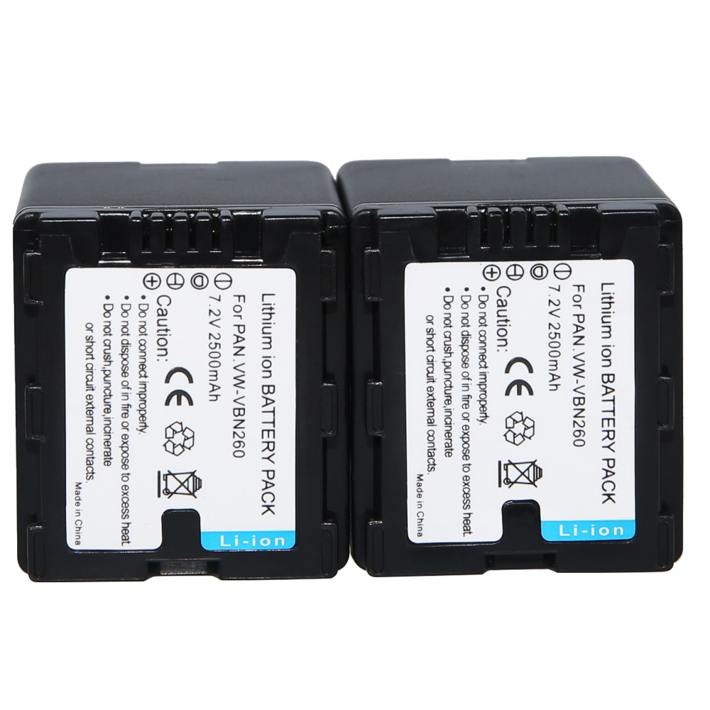 AOPULY VW-VBN260 2 VW VBN260 VBN130 VBN390 pçs/lote Alta Capacidade 2500 mAh Li-ion Bateria Da Câmera para Panasonic HDC-Tm900 HDC-SD900