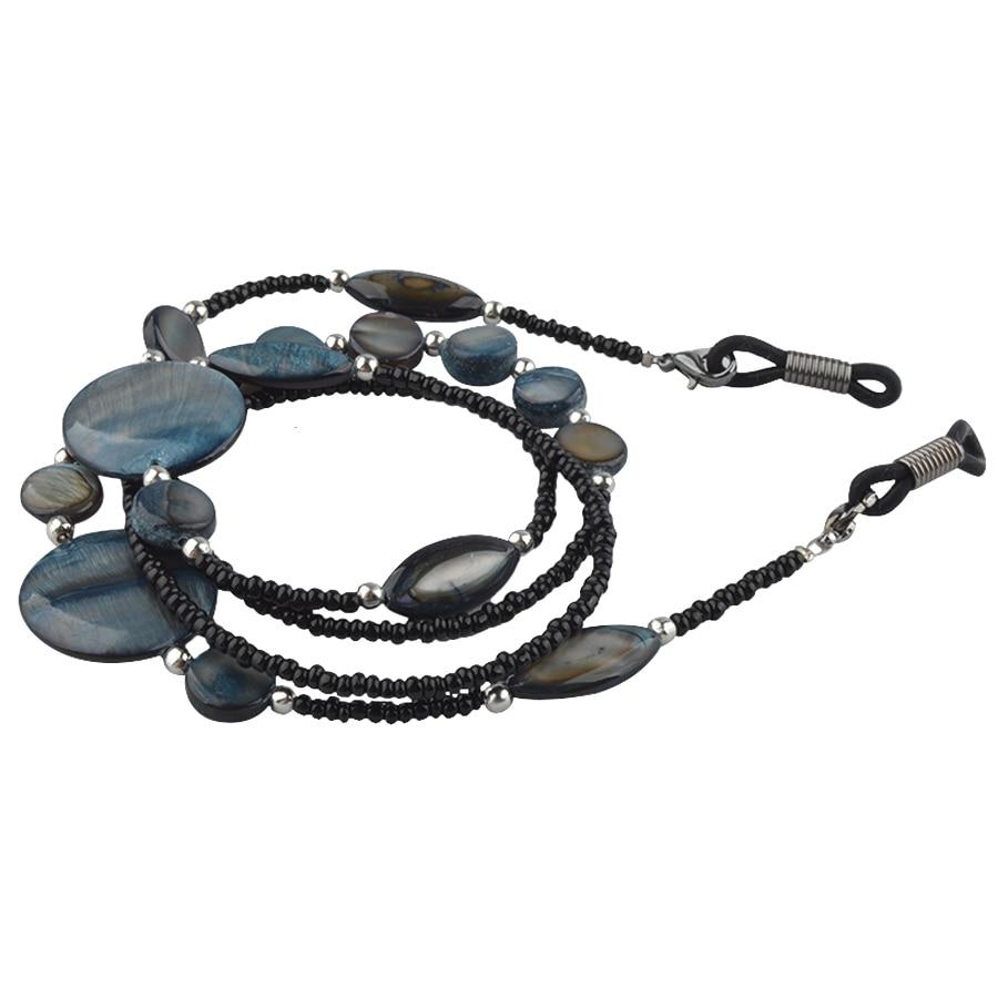 خرز أكريليك أسود للنظارات الشمسية ، 20 قطعة ، سلك نظارة شمسية مع خرز صدفي ، حزام للرقبة ، سلسلة ربط بالجملة
