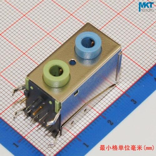 10 piezas a través del agujero doble cubierta 3,5mm doble canal hembra Audio estéreo conector para Audio teléfono enchufe