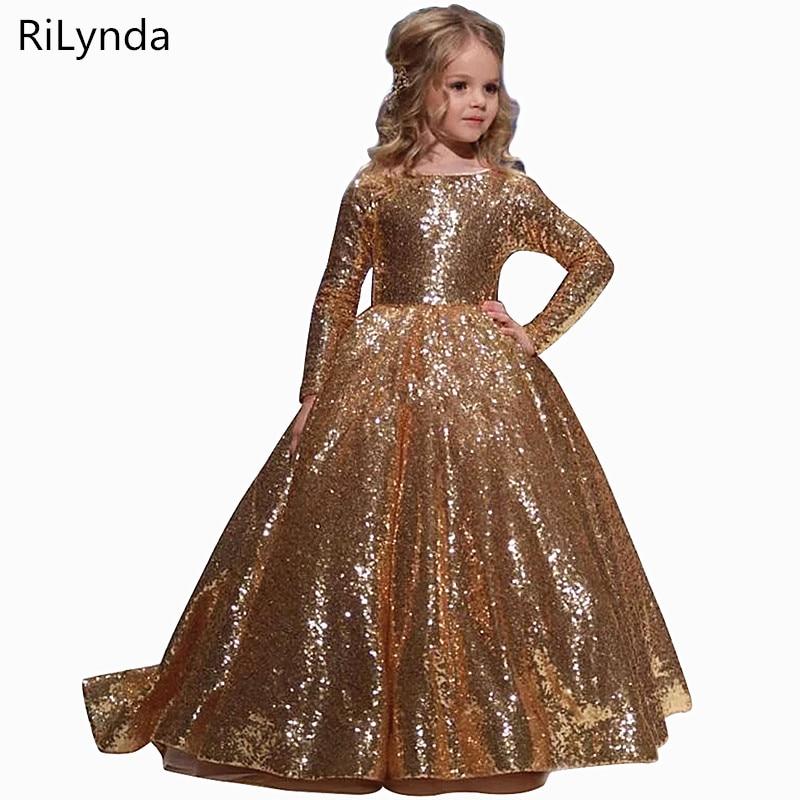 Gold Iittle Girls Dresses Floor Iength Ball Gowns For Kids Birthday Party Dress For Girls Fancy Flower Girls Dresses 2-14 years