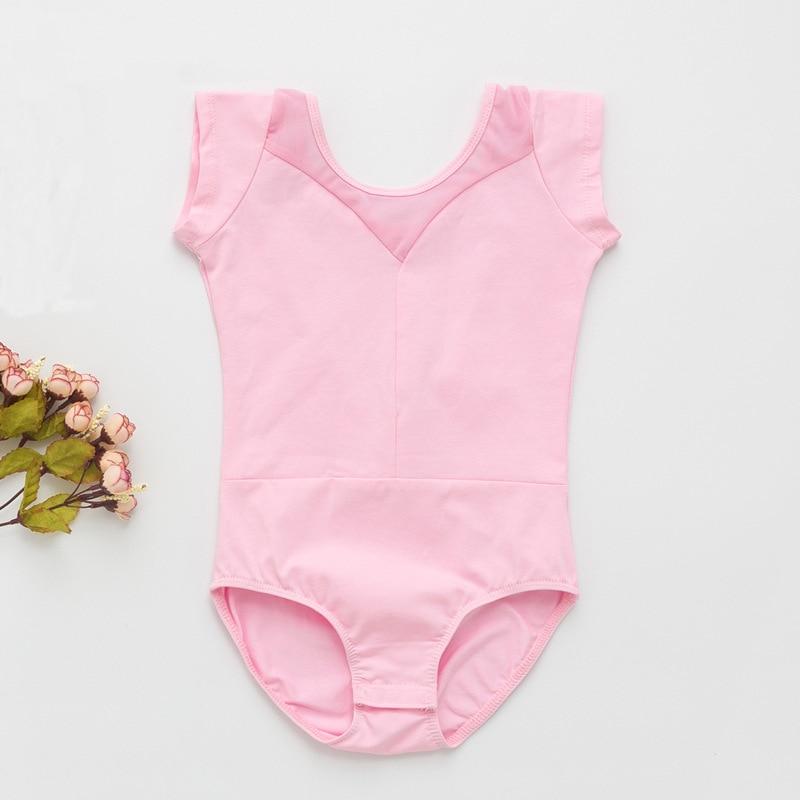 Leotardo para gimnasia Ballet vestido para niñas niños de manga corta Abierto Cerrado entrepierna de algodón Spandex de baile vestidos mono D019