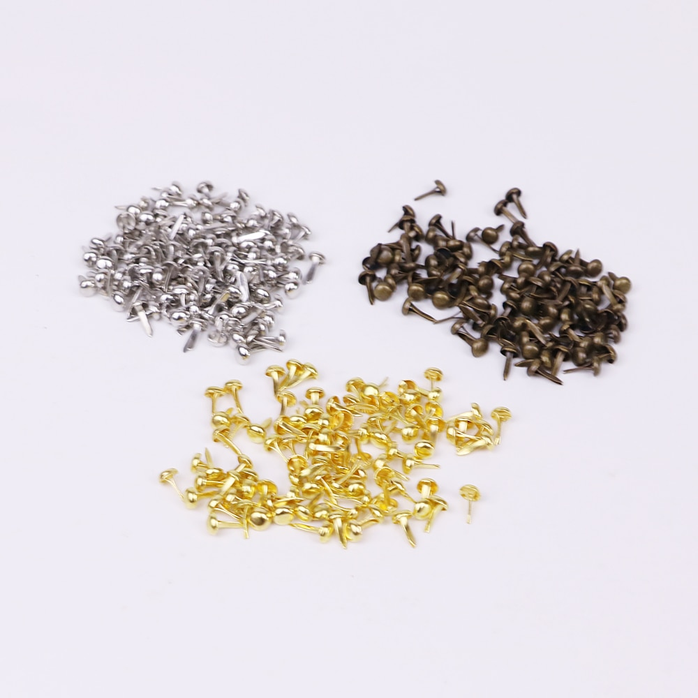 solid color metal scrapbooking brads mini size Dia5mm length 8mm golden silver bronze embellishment 200pcs/lot