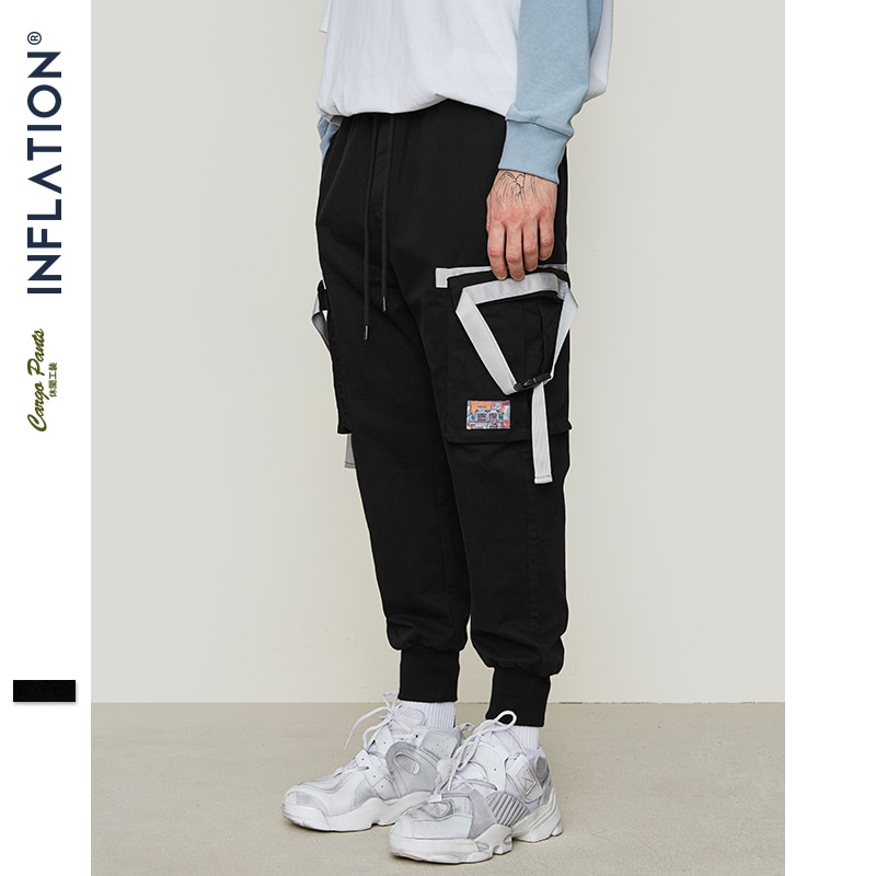 INFLATION Side Tape Design Leggings Pants High Street Hip hop Cargo Pants Skateboards Streetwear Elastic Waist Trousers 9323S