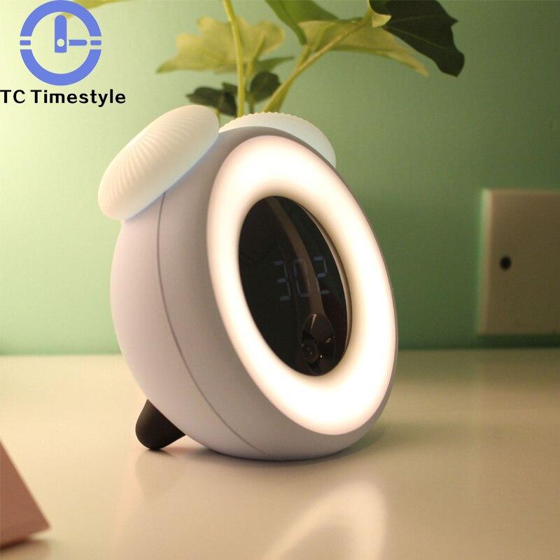 Reloj despertador LED Sunrise, lámpara de noche con carga USB, lámpara de noche para dormitorio, música, despertador, reloj despertador Digital Wekker para niños