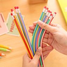 5 pcs/lot coloré magique Bendy Flexible crayon souple avec gomme papeterie étudiant crayons de couleur école fournitures de bureau