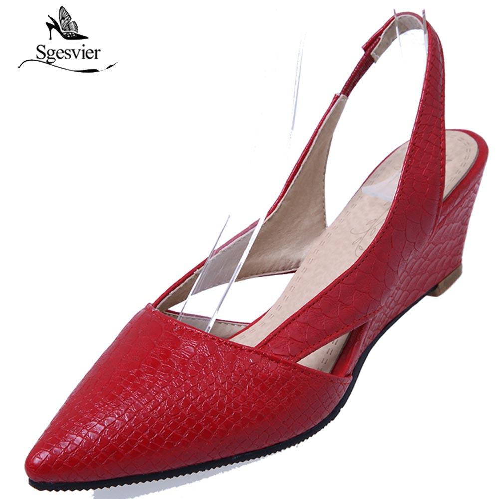 Sgesvier-صندل نسائي بكعب ويدج ، حذاء سهل الارتداء ، أسود ، أحمر وأبيض ، B564
