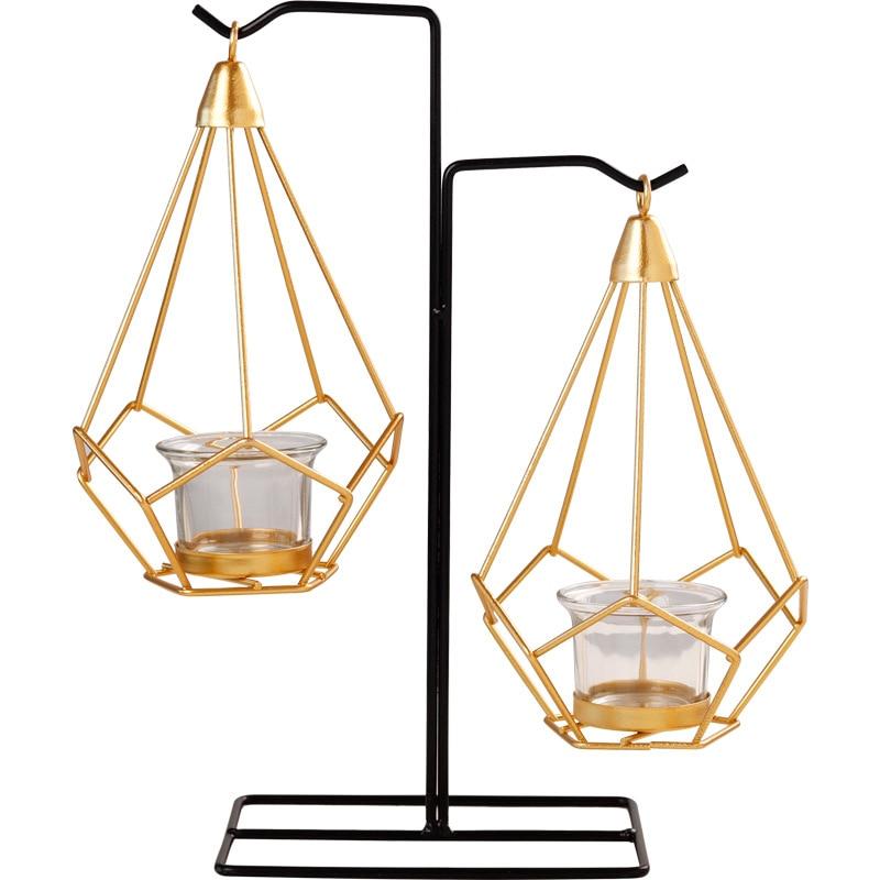Nórdico minimalista geométrico dorado candelabro creativo hierro artesanías portavelas escritorio decoración del hogar boda centros de mesa