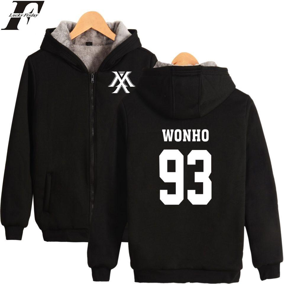 LUCKYFRIDAYF MONSTA X Sudadera Hombre coreano Hip Hop Fans abrigos engrosamiento Kpop Harajuku Hoodies hombres mujer cremallera ropa