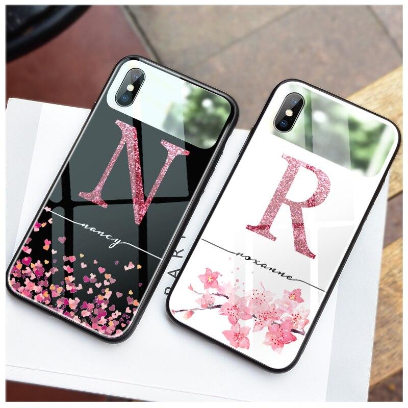 Ciciber para Iphone 11 Funda para iPhone XR 11 PRO XS MAX X 7 8 6 6S Plus arte escritura nombre personalizado espejo cubierta de cristal Funda Coque