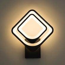 Светодиодные Настенные светильники для спальни гостиной квадратный белый черный корпус 27 Вт AC90-260V Крытый светодиодный Поворотный Настенный светильник с 3 цветными лампами