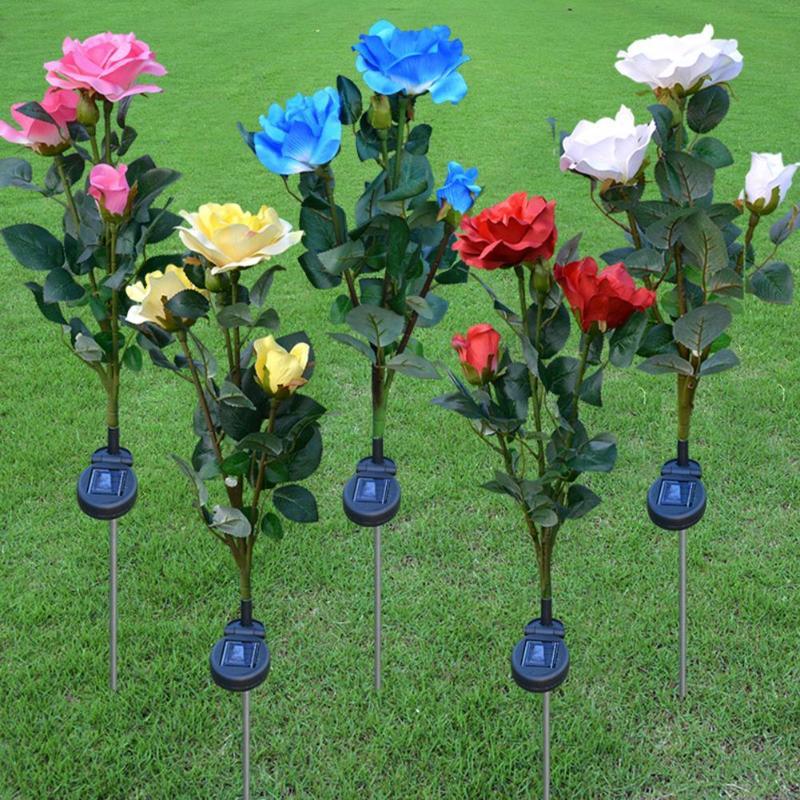 3LED simulación Solar Rosa flor luz impermeable jardín lámpara para paisajismo de exterior césped lámpara flor decorativa para el hogar luces de noche
