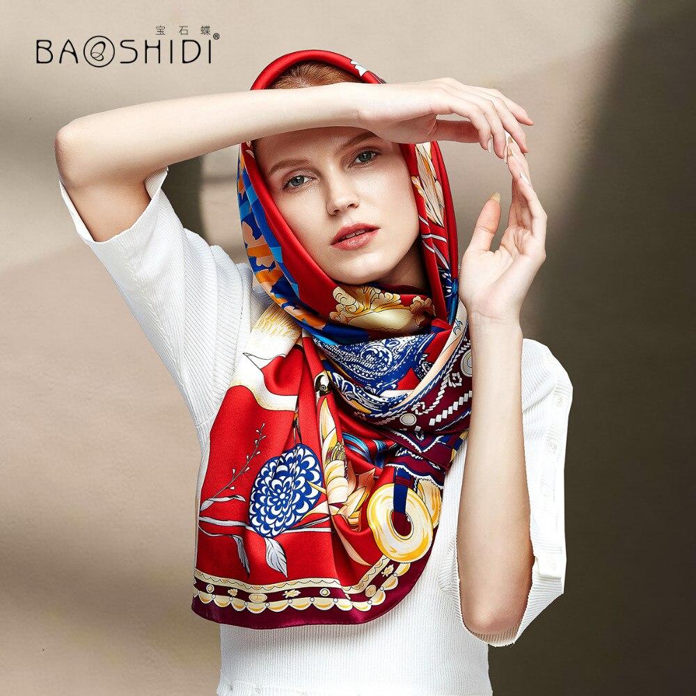 [BAOSHIDI] 2018 otoño nueva llegada, 16 m/m 100% bufanda de satén de seda, 106*106 bufandas cuadradas mujeres, diseño de patrón Floral chal infinito